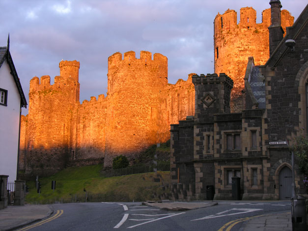 Conway castle at sunset